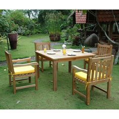 Outdoor Anderson Teak Classic 5 Piece Patio Dining Set - SET-101A