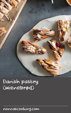 Danish pastry (wienebrød) | Danish pastries are possibly Denmark's most well-recognized food specialty, even though it is Austria that should actually be credited for originally creating them! Traditionally based on a leavened pastry (basically a layered puff pastry made with a yeast dough) the making of them is quite an involved process. Luckily, the pastry used here is a shortcut one with chunks of butter already incorporated into the pastry when initially mixed, which cuts out the process of  Puff Recipe, Puff Pastry Recipes, Dough Recipe, Baked Duck Recipes, What Is Pastry, How To Make Butter Recipe, Danish Pastries, Starter Recipes, Good Food
