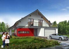 LK&895 - Domy - Styl Tradycyjny - LK&Projekt Projekt jednorodzinnego domu tradycyjnego z 3 sypialniami oraz dodatkowym pokojem gościnnym/gabinetem na parterze, 2-stanowiskowym garażem, garderobą, salonem otwartym na kuchnię i jadalnię: http://lk-projekt.pl/lkand895-produkt-1593.html