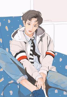 Exo Anime, Anime Guys, Anime Art, Chibi, Bts Art, Cover Wattpad, Exo Fan Art, Boy Illustration, Korean Art