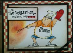 Ai Heroes The Grill Father ( Art Impressions) Handmade masculine card for Father's Day, Birthday etc.