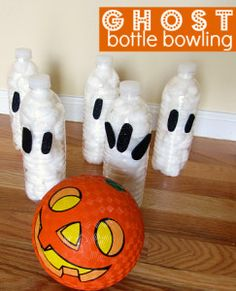 Ghost Bottle Bowling – Halloween Game For Kids. Melissa Roark, might be good for your kindergartens?