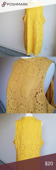 👌 Mustard yellow vintage lace dress NWOT Super cute with an old school feel, satin slip underneath,  zip up closure, collared neck.  Measurements from armpit to bottom is 24 inches 22 inches across chest from armpit to armpit.  New without tags. Forever 21 Dresses