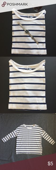 Striped Long Sleeve Shirt Straight hem, with vented sides. All-over striped pattern; colors vary. Soft, light-weight jersey. Old Navy Tops Blouses