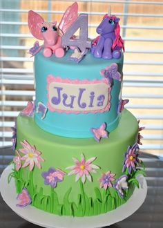 Ponies and Butterflies Cake