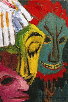 Emil Nolde, *Masken III*, 1920. Öl auf Leinwand, 87 x 73 cm. Nolde Stiftung Seebüll, Neukirchen