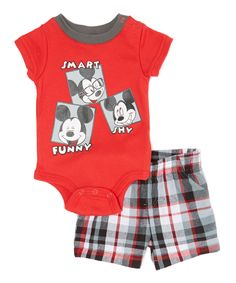 Childrens Apparel Network Red Mickey Mouse Bodysuit & Shorts - Infant | zulily