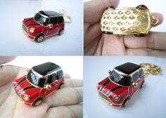 mini cooper,Chili Red Mini car keychain,black in car roof and stripes,Single or double stripes ,drop of oil plus diamond luxury car keychain on Wanelo