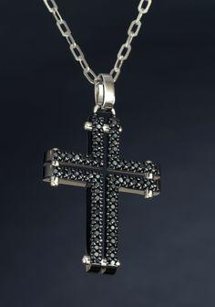 K18 blackdiamond mens cross necklace #cross #necklace #blackdiamond #k18 #steampunk #cool #nice #diamond #ネックレス #かっこいい #オシャレ #機械的 #スチームパンク