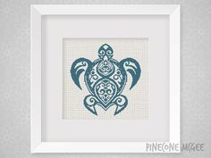 SEA TURTLE counted cross stitch pattern ocean by PineconeMcGee