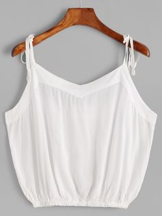 ROMWE offers White Tie Detail Crop Cami Top   more to fit your fashionable  needs. aea35661f0ab2