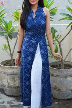Best 12 Buy Dark Blue Printed Modal Kurti with Lakhnavi Palazzo Online in India Silk Kurti Designs, Churidar Designs, Kurta Designs Women, Kurti Designs Party Wear, Cotton Kurtis Designs, Short Kurti Designs, Stylish Dress Designs, Dress Neck Designs, Designs For Dresses