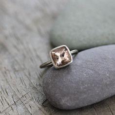 Morganite Ring in 14k White Gold