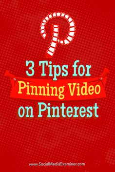 Do you want to get more out of your video content?  With a little creativity, you can use video content from YouTube, Facebook Live, Snapchat, or your website to drive traffic from Pinterest.  In this article, you'll discover three tips for pinning videos to Pinterest. Via @smexaminer.