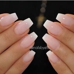 Milky cream ombré nails