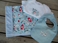 Baby Boy gift set in blue flannel with dog by OliveStreetStudio