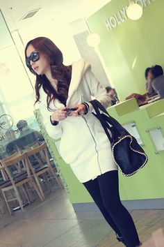 Fashion Long Sleeve White Cotton Long Sweater