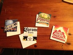 DIY Beer Coasters - Def going to try this out it would work with soda six pack holders or maps or pictures... endless possibilitys