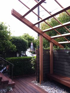 Trellis ends matching slope of house's roof