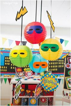 Superhero classroom theme and decor ~Classroom decor by Schoolgirl Style www. Batman Party, Superhero Party, Superhero Room, Superhero Ideas, Batman Birthday, Hero Central Vbs, Diy Classroom Decorations, Classroom Ideas, Super Hero Decorations