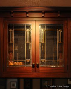 Prairie School leaded glass for kitchen cabinetry - by Theodore Ellison Designs