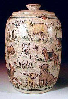 Hand Painted Pottery with Animal and Dog Art by Nan Hamilton Boston MA. Description from pinterest.com. I searched for this on bing.com/images