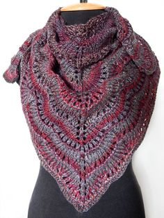 Knitted burgundy grey shawl, knitted woman wave pattern wrap, winter shawl, knit accessory, woman scarf, by SanniKnitting on Etsy