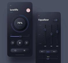 Skeuomorphic Dark Music Player App Design by Interface Design, App Ui Design, Web Design Company, User Interface, Flat Design, Design Design, Design Ideas, Web Design Mobile, Mobile Application Design