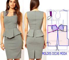 b77d146177195 Antes de mais analise de forma atenta o desenho do molde vestido cinza para  poder fazer