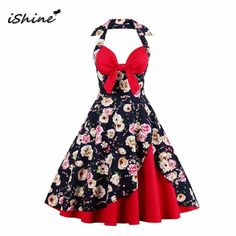 iShine Ladies halter V neck print sexy bow vintage dress sleeveless  backless big swing party women 759616006993