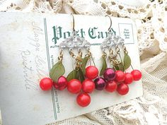 cherry earrings upcycle dangle assemblage shabby by lilyofthevally