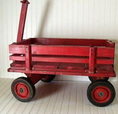 Vintage Extra Large Red Wooden Wagon  Hand Crafted by DivineOrders, $135.00