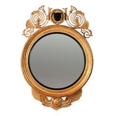 Regency Convex Mirror with Leopard Mask Hollywood Regency, Old Hollywood, Solar, Peacock Chair, Convex Mirror, Custom Mirrors, Regency Era, Eclectic Design, Greek Key