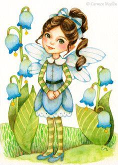 Little Bluebells - fairy fantasy art print by Carmen Medlin