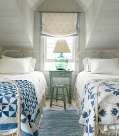 Decorating Ideas from a Nantucket Cottage Century-old quilts in Pinwheel (left) and Bear's Paw patterns dress these antique wrought-iron beds.Century-old quilts in Pinwheel (left) and Bear's Paw patterns dress these antique wrought-iron beds. Wrought Iron Beds, Home Bedroom, Bedroom Design, Beach Cottage Design, Nantucket Cottage, Cottage Style Bedrooms, Bedroom Decor, Beautiful Bedrooms, Home Decor