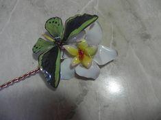 Spillone per capelli, fatto a mano in filo di rame naturale con fiori e farfalla in sospeso trasparente, giallo, bianco, verde, idea regalo