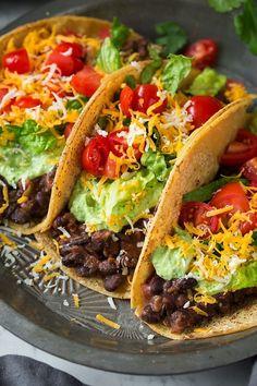 Black Bean Tacos with Avocado Cilantro Lime Crema   Cooking Classy