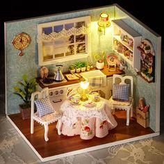 Doll House Room Box DIY Handmade Wooden Miniature Girls Toy Kids Lighting Dollhouse Kit Furniture Dolls Houses Happy Kitchen