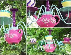 2. #Teapot Chandelier - 9 #Terrific Ways to Repurpose #Teapots and Tea Cups…