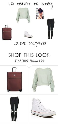 """""""one reason to stay"""" by lauren-371 ❤ liked on Polyvore featuring Tumi, Sans Souci, Topshop and Converse"""