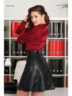 "holypizzaenthusiast: ""Lederlady ❤ "" Leather Skater Skirts, Black Leather Skirts, Faux Leather Skirt, Leather Dresses, Skirt Outfits, Sexy Outfits, Sexy Rock, Looks Pinterest, Satin Blouses"