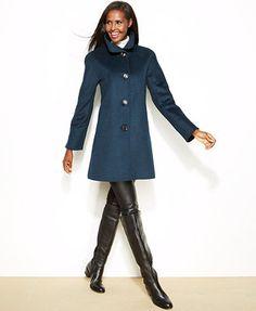Ellen Tracy Petite Wool-Blend A-Line Walker Coat
