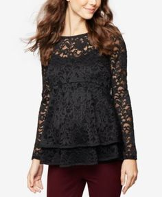A Pea In The Pod Maternity Lace Babydoll Top