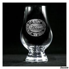 Ornate Damask Personalized Glencairn Scotch Glass Whiskey Glasses