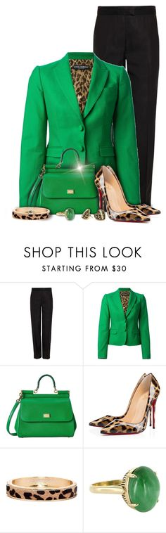 """Dolce & Gabbana Green Blazer Fashion"" by superstylist ❤ liked on Polyvore featuring 3.1 Phillip Lim, Dolce&Gabbana, Christian Louboutin, The Limited, Vintage and Betsey Johnson"