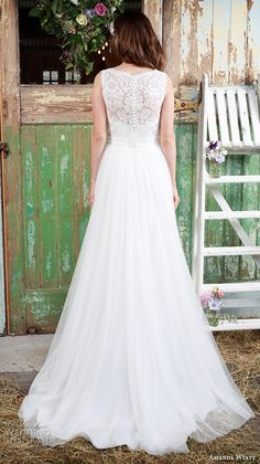"Amanda Wyatt 2016 Wedding Dresses — Promises Of Love Bridal Collection | Wedding Inspirasi | ""Chantilly"" -- Beautiful Embroidered Lace & Tulle Wedding Gown Featuring Sleeveless Embroidered Lace Bodice With Bateau Neckline, Lace Back, Tulle Skirt Flowing Down To Court Length Train; (Back View)"