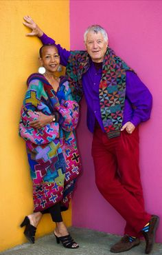 Kaffe Fassett and Marsha Hunt at the Fashion and Textile Museum, Newham, England, where the first major exhibition of Kaffe's work took place in march/june 2013