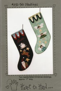 Two Stockings by LavenderQuiltShop on Etsy