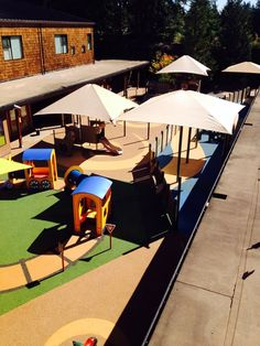 Here is another great photo of the rubber playground surfacing No Fault installed at the Muckleshoot Indian Reservation's Child Development Center in Auburn, WA. The layout is very bright and colorful