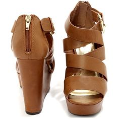 Soda Hat Tan Strappy Platform Wedge Sandals ($31) ❤ liked on Polyvore featuring shoes, sandals, heels, wedges, high heels, tan strappy sandals, strap sandals, heeled sandals, peep toe wedge sandals and strappy wedge sandals